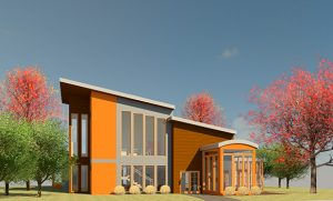 Front view of rendering of retreat center.