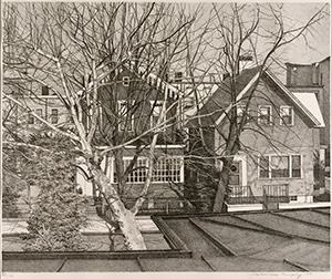 A black and white illustration of houses