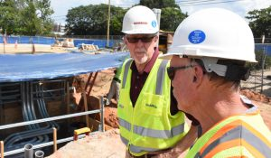 Photo of Dennis Bowie and Bill Chatfield at construction site