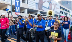 Photo of marching band at folk festival
