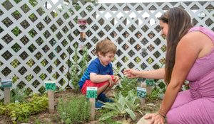 Photo of an adult woman and young boy at the sensory garden