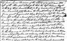 A portion of a digitized Guilford County slave deed.
