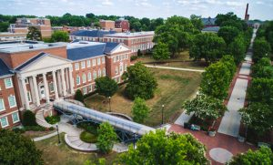 Drone photo of College Ave on UNCG campus.