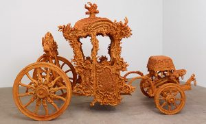 Photo of life-size carriage made of crystallized candy
