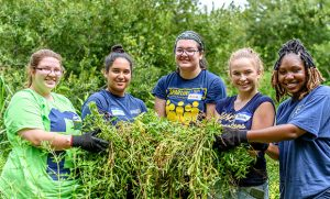 """Photo of a group of five female UNCG students cleaning up vegetation on the """"Bio Cell"""" at the Greensboro Science Center"""