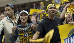 Photo of Spartan fans at a basketball game