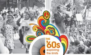 Images from 1960s events with paisley design on top.
