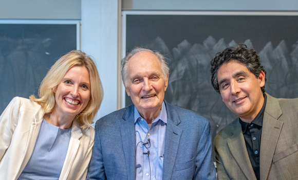 Group photo of Dr. Nadja Cech, Alan Alda and Dr. Omar Ali