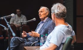 Photo of Alan Alda speaking on stage