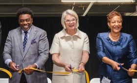 Chancellor Gilliam, Margaret Spellings and Sharon Hightower cut a ribbon at the opening of Gateway University Research Park's Research Facility Three.