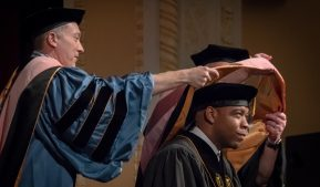 Photo of the hooding ceremony