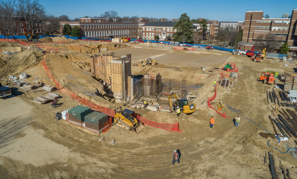 Drone photo of Nursing & Instructional Building construction.