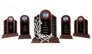 Photo of UNCG's 5 Socon trophies.