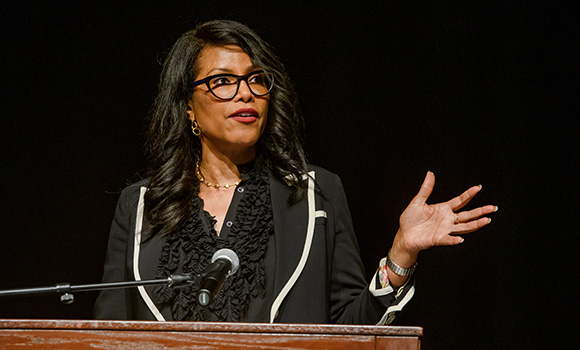 Photo of Ilyasah Shabazz speaking at podium