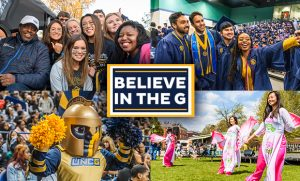 Collage of four campus photos with Believe in the G logo at the center
