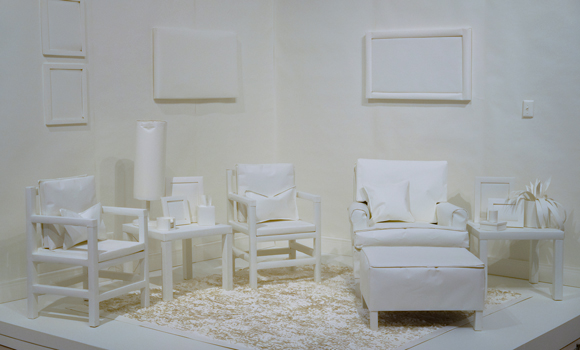 "A ""room"" of paper furniture"