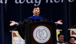 Photo of Ken Jeong speaking at Commencement