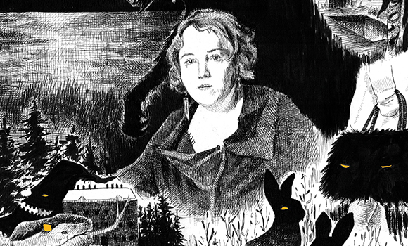 illustration of a woman with creatures around her