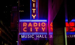 Exterior photo of Radio City Music Hall.
