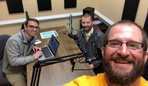 UNCG faculty members work on podcast in UTLC production suite