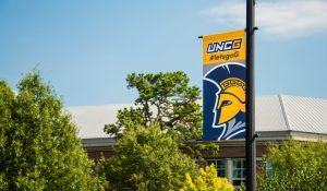 UNCG banner in trees