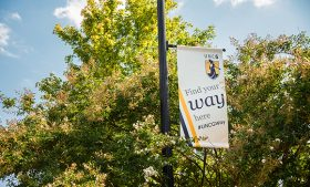 """Image of """"Find your way here"""" banner on campus with trees"""