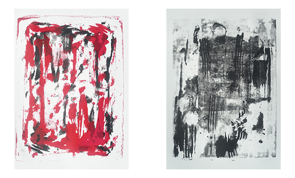 Image of two works of abstract art
