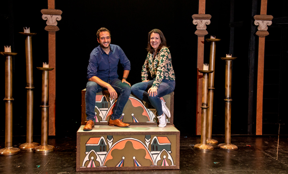 Dominick Amendum and Erin Farrell Speers on the set of Pippin.