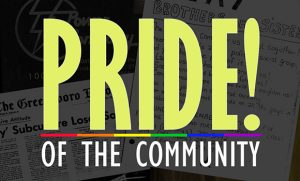 "graphic reading ""PRIDE! OF THE COMMUNITY"""