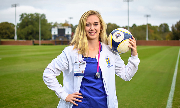 Clinicals and corner kicks for UNCG student-athlete