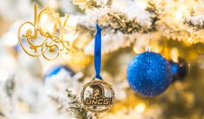 Photo of UNCG Christmas decorations on a tree
