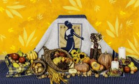 Photography of UNCG-themed cornucopia table setting