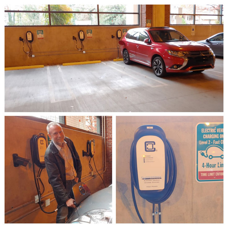 Photo of a car charging station