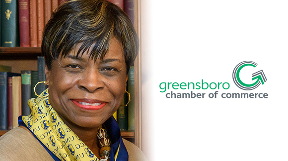 Photo of Mae Douglas on left and Greensboro Chamber of Commerce logo on the right