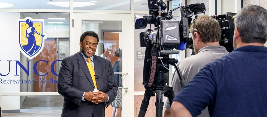 Chancellor Frank Gilliam speaks to the local media