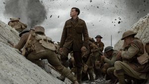Scene from 1917 movie of soldiers in battle