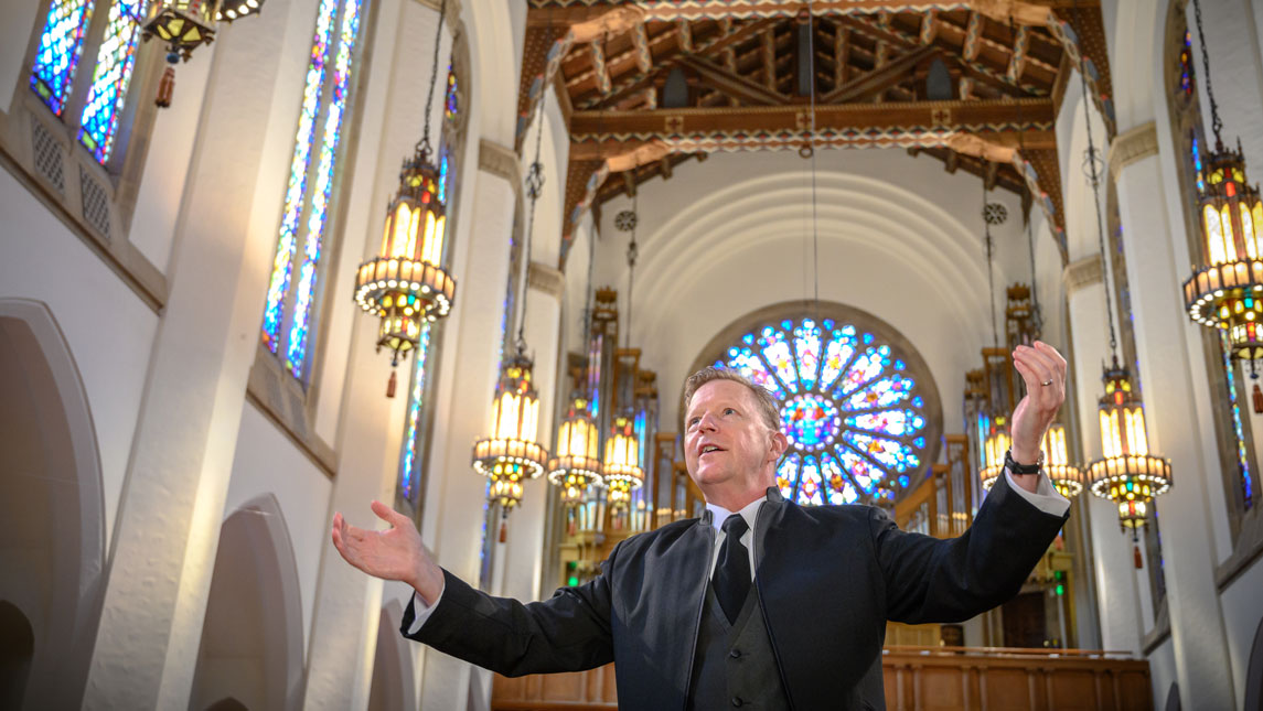 Photo of Dr. Welborn Young at the First Presbyterian Church.