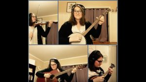 woman playing four instruments in four screens