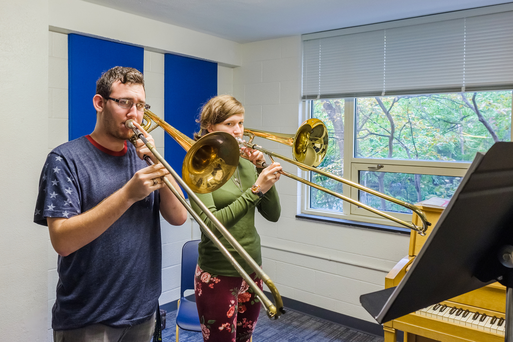 Photo of students playing trombones
