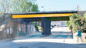 Railroad bridge painting, street closures