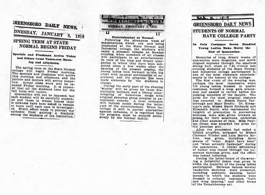 Newspaper clippings from Greensboro Daily News in 1919