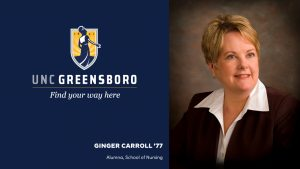 Graphic of UNCG logo and head shot of Ginger Carroll