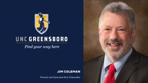 Graphic with UNCG logo and head shot of Jim Coleman