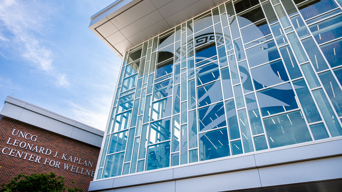Spartan graphic on Kaplan Center glass
