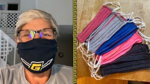Photo of woman wearing face covering on left, and photo of stack of face coverings on right