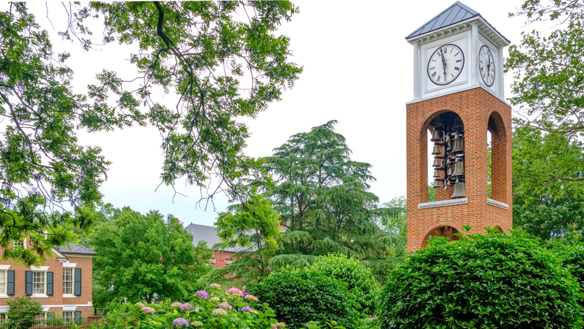 Photo of Vacc Bell Tower and landscaping on campus