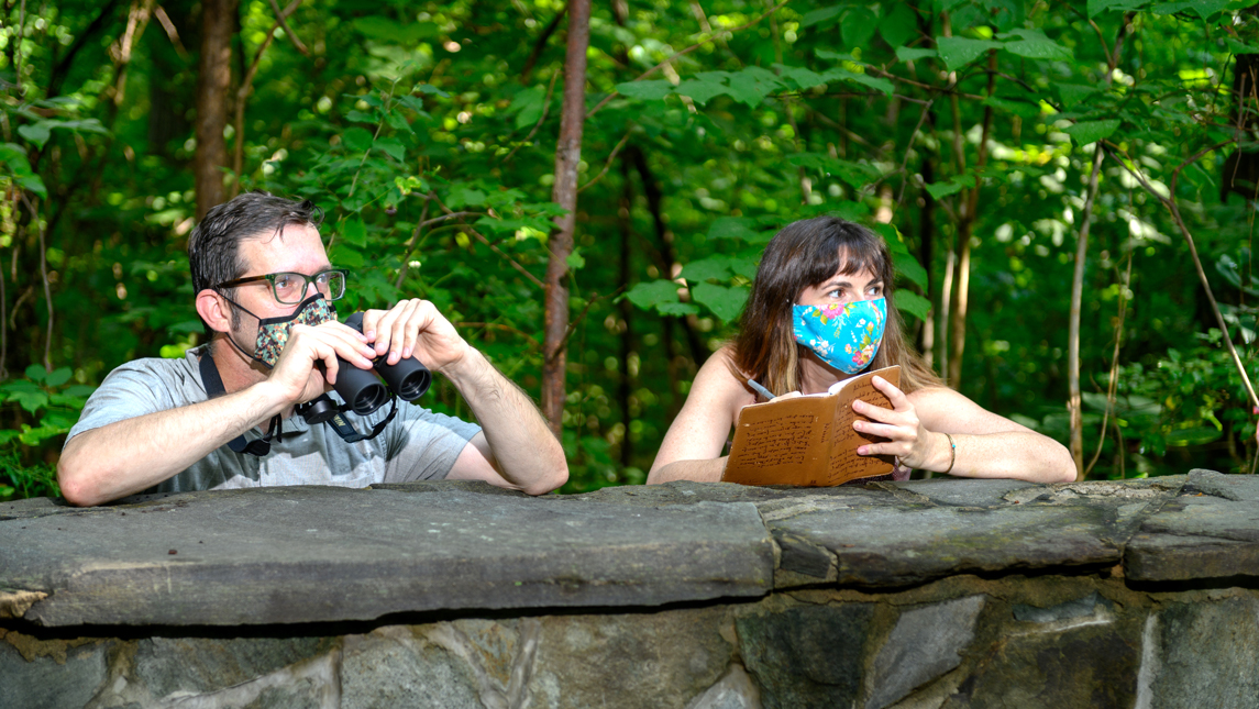 photo of Matt Bryant and Susan Kirby-Smith in the woods