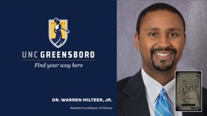 UNCG logo and Warren Milteer headshot with thumbnail of book cover