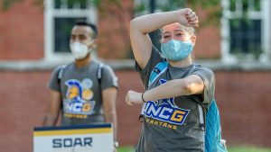two SOAR orientation leaders wearing masks