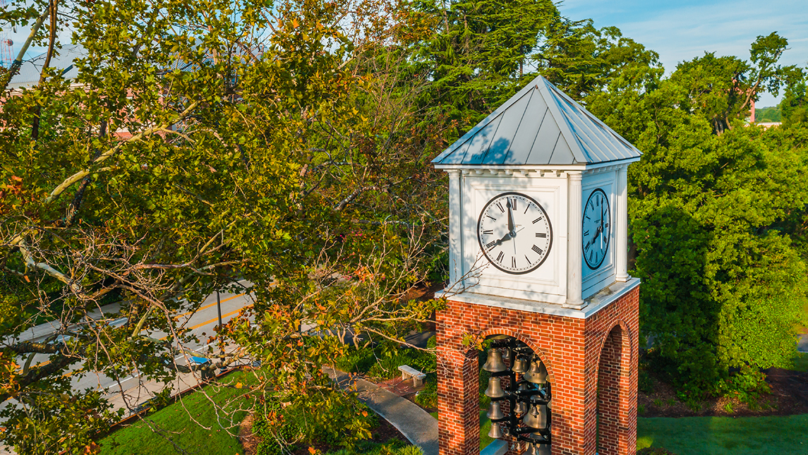 Aerial view of bell tower on campus